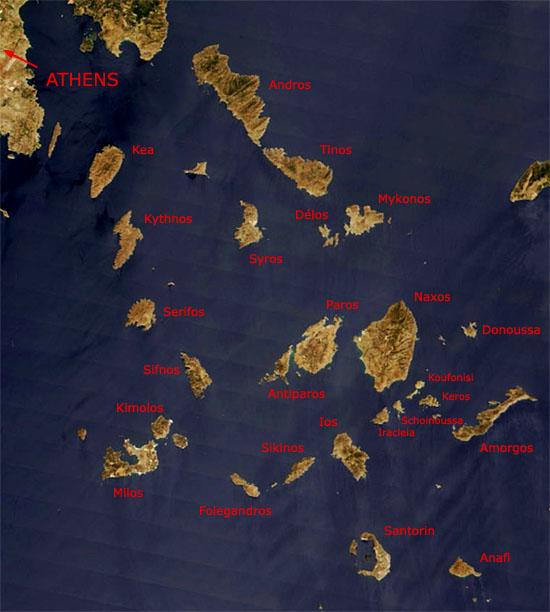 Carte des Cyclades vues du ciel