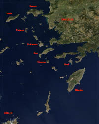 map dodecanese islands