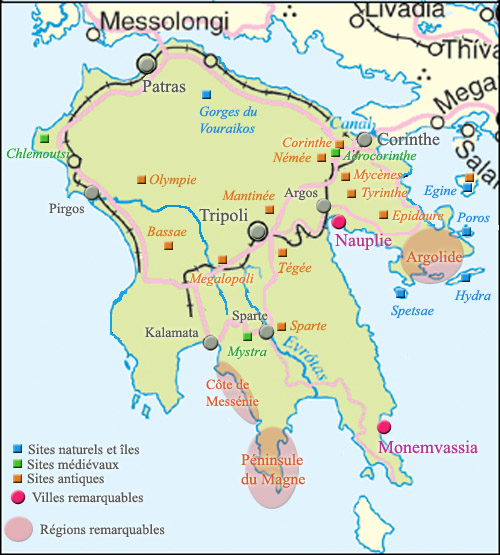 carte du Péloponnèse